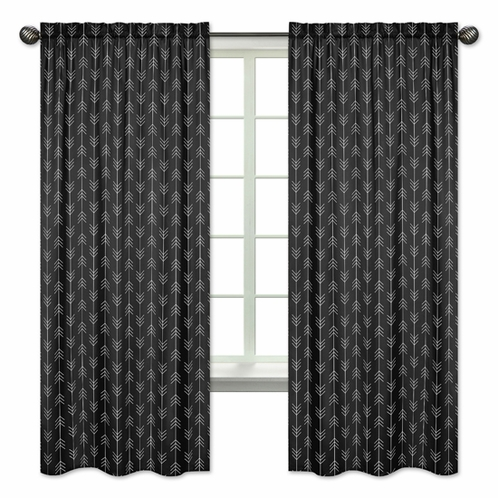 Black and White Woodland Arrow Window Treatment Panels Curtains for Rustic Patch Collection by Sweet Jojo Designs - Set of 2 - Click to enlarge