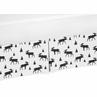 Black and White Woodland Moose Baby Boy Pleated Crib Bed Skirt Dust Ruffle for Rustic Patch Collection by Sweet Jojo Designs