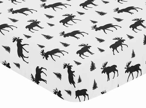 Black and White Woodland Moose Baby or Toddler Fitted Crib Sheet for Rustic Patch Collection by Sweet Jojo Designs - Click to enlarge