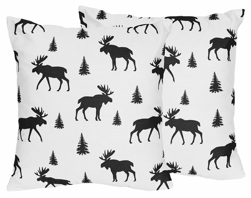 Black and White Woodland Moose Decorative Accent Throw Pillows for Rustic Patch Collection by Sweet Jojo Designs - Set of 2 - Click to enlarge