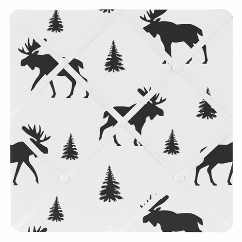 Black and White Woodland Moose Fabric Memory Memo Photo Bulletin Board for Rustic Patch Collection by Sweet Jojo Designs - Click to enlarge