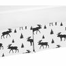 Black and White Woodland Moose Pleated Toddler Bed Skirt Dust Ruffle for Rustic Patch Collection by Sweet Jojo Designs