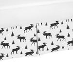 Black and White Woodland Moose Pleated Twin Bed Skirt Dust Ruffle for Rustic Patch Collection by Sweet Jojo Designs