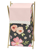 Black, Blush Pink and Gold Baby Kid Clothes Laundry Hamper for Watercolor Floral Collection by Sweet Jojo Designs - Rose Flower