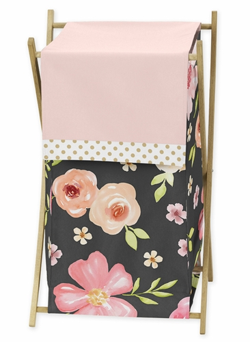 Black, Blush Pink and Gold Baby Kid Clothes Laundry Hamper for Watercolor Floral Collection by Sweet Jojo Designs - Rose Flower - Click to enlarge