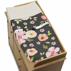 Black, Blush Pink and Gold Changing Pad Cover for Watercolor Floral Collection by Sweet Jojo Designs - Rose Flower