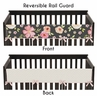 Black, Blush Pink and Gold Long Front Crib Rail Guard Baby Teething Cover Protector Wrap for Watercolor Floral Collection by Sweet Jojo Designs - Rose Flower Polka Dot