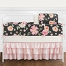 Black, Blush Pink and Gold Shabby Chic Watercolor Floral Baby Girl Crib Bedding Set with Bumper by Sweet Jojo Designs - 9 pieces - Rose Flower Polka Dot