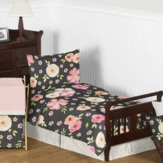 Black, Blush Pink and Gold Shabby Chic Watercolor Floral Girl Toddler Bedding Set for Children Kids by Sweet Jojo Designs - 5 pieces Comforter, Sham and Sheets - Rose Flower Polka Dot