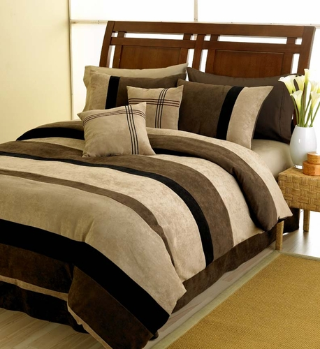 Black, Chocolate and Camel Jacaranda Striped MicroSuede 6-pc Luxury Duvet Cover Bedding Set - Click to enlarge