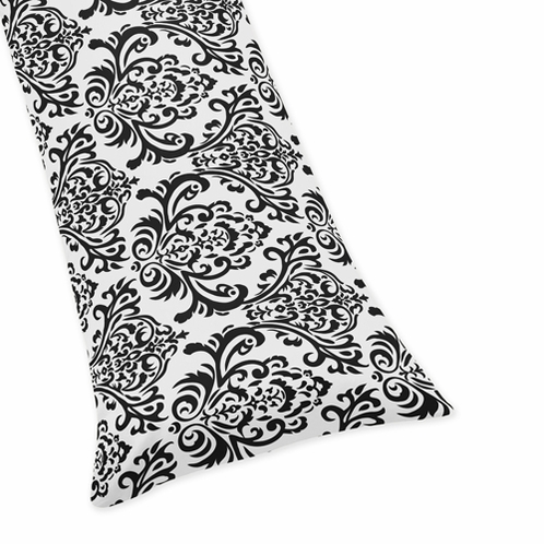 Black Damask Full Length Double Zippered Body Pillow Case Cover for Sweet Jojo Designs Sloane Sets - Click to enlarge