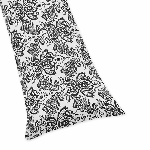 Black Damask Full Length Double Zippered Body Pillow Case Cover for Sweet Jojo Designs Sophia Sets - Click to enlarge