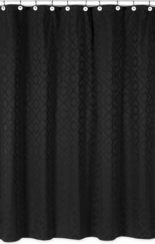 Black Diamond Jacquard Modern Kids Bathroom Fabric Bath Shower Curtain by Sweet Jojo Designs - Click to enlarge