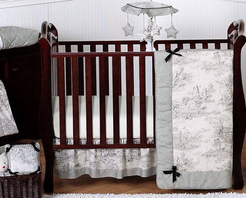 Black French Toile Baby Bedding 11pc Crib Set Click To Enlarge