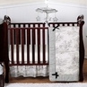 Black French Toile Baby Bedding - 4pc Crib Set