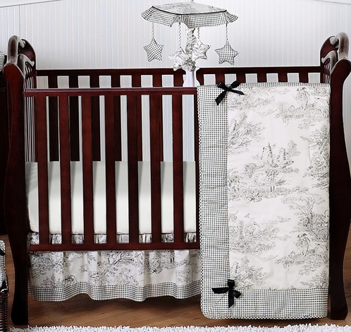 Black French Toile Baby Bedding - 4pc Crib Set - Click to enlarge