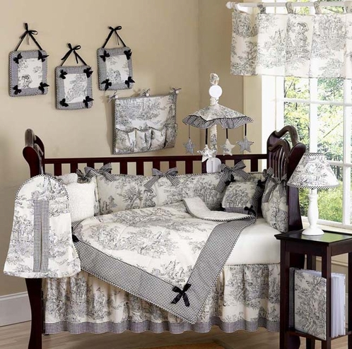 Black French Toile Baby Bedding 9 Pc Crib Set Click To Enlarge