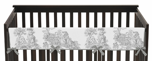 Black French Toile Baby Crib Long Rail Guard Cover by Sweet Jojo Designs - Click to enlarge