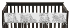 Black French Toile Baby Crib Long Rail Guard Cover by Sweet Jojo Designs