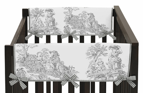 Black French Toile Baby Crib Side Rail Guard Covers by Sweet Jojo Designs - Set of 2 - Click to enlarge