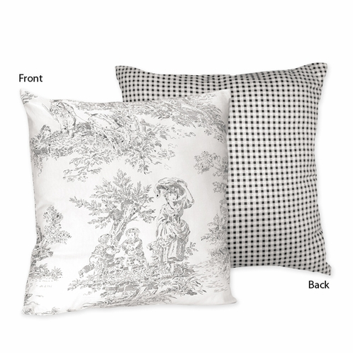 Black French Toile Decorative Accent Throw Pillow by Sweet Jojo Designs - Click to enlarge