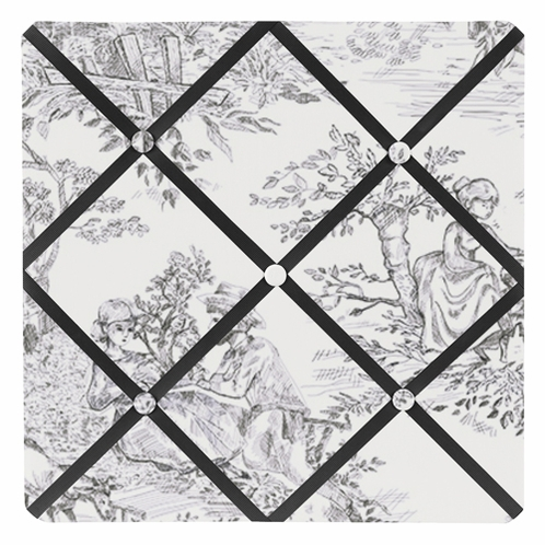 Black French Toile Fabric Memory/Memo Photo Bulletin Board - Click to enlarge