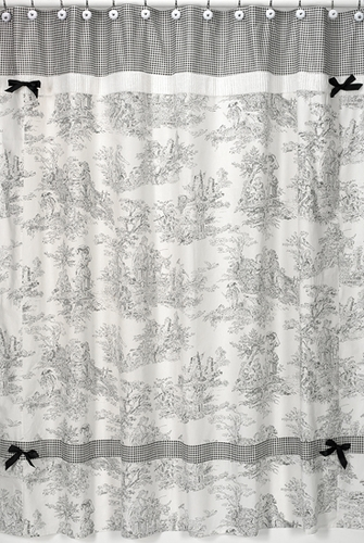 Black French Toile Kids Bathroom Fabric Bath Shower Curtain - Click to enlarge