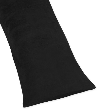 Black Full Length Microsuede Double Zippered Body Pillow Case Cover by Sweet Jojo Designs - Click to enlarge