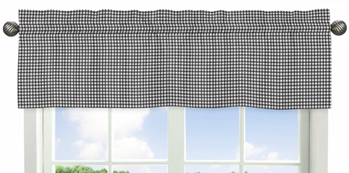 Black Gingham Window Valance for Red and White Ladybug Polka Dot Collection by Sweet Jojo Designs - Click to enlarge