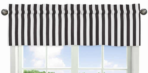 Black Stripe Window Valance for Paris Collection by Sweet Jojo Designs - Click to enlarge