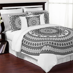 Black, White and Grey Boho Mandala Medallion Floral Twin / Twin XL Teen Adult Bedding Comforter Set by Sweet Jojo Designs - 4 pieces