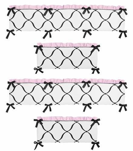 Pink, Black and White Princess Collection Crib Bumper by Sweet Jojo Designs - Click to enlarge