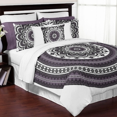 Black, White and Purple Boho Mandala Medallion Floral Twin / Twin XL Teen Adult Bedding Comforter Set by Sweet Jojo Designs - 4 pieces