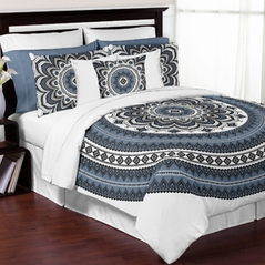 Black, White and Smoke Blue Boho Mandala Medallion Floral Twin / Twin XL Teen Adult Bedding Comforter Set by Sweet Jojo Designs - 4 pieces