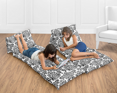 Black White Damask Kids Teen Floor Pillow Case Lounger Cushion Cover by Sweet Jojo Designs