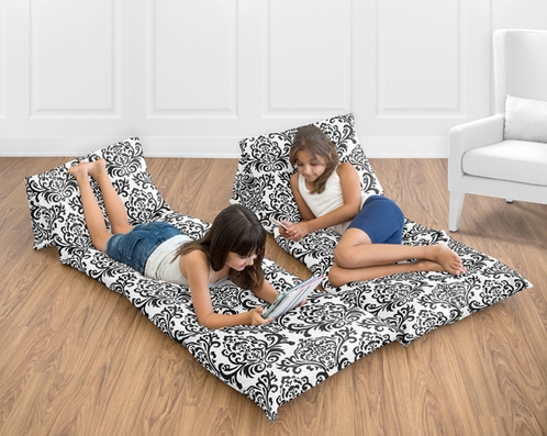 Black White Damask Kids Teen Floor Pillow Case Lounger Cushion Cover by Sweet Jojo Designs - Click to enlarge