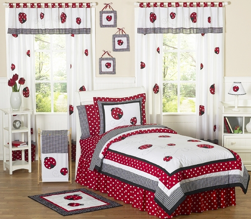 Red and White Ladybug Polka Dot Childrens Bedding - 4 pc Twin Set - Click to enlarge