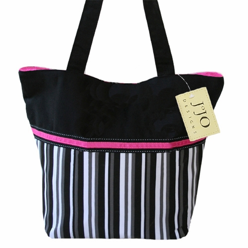 Black, White, Grey and Pink Multicolor Stripe Handbag / Tote Bag - Click to enlarge