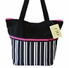 Black, White, Grey and Pink Multicolor Stripe Handbag / Tote Bag
