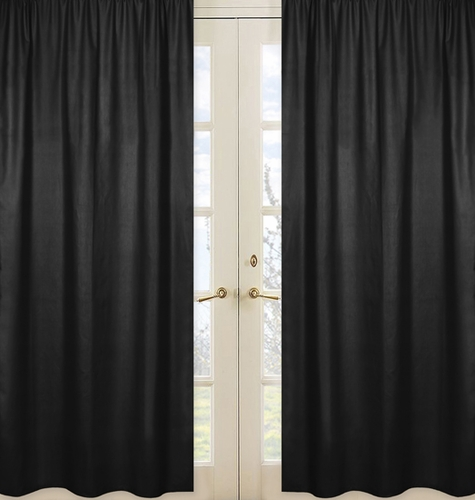 Black Window Treatment Panels for Black and White Chevron Collection - Set of 2 - Click to enlarge