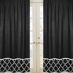 Black Window Treatment Panels for Black and White Trellis Collection - Set of 2