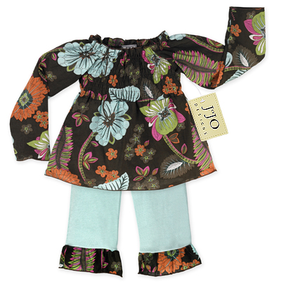 Blue and Brown 2pc Smocked Boutique Baby Outfit by Sweet Jojo Designs - Click to enlarge