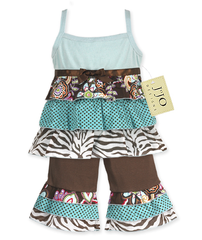 Blue and Brown Floral and Zebra 2pc Baby Girls Rumba Outfit - Click to enlarge