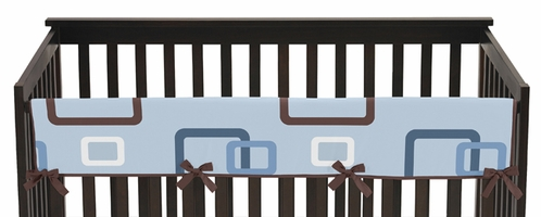 Blue and Brown Geo Baby Crib Long Rail Guard Cover by Sweet Jojo Designs - Click to enlarge