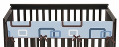 Blue and Brown Geo Baby Crib Long Rail Guard Cover by Sweet Jojo Designs