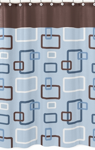 Blue and Brown Geo Bathroom Fabric Bath Shower Curtain - Click to enlarge