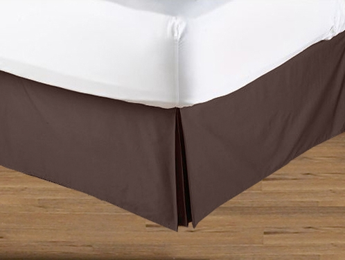 Blue and Brown Geo Collection Bed Skirt - Solid Brown - King Size - Click to enlarge