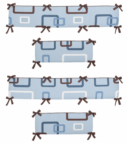 Blue and Brown Geo Collection Crib Bumper by Sweet Jojo Designs - Click to enlarge