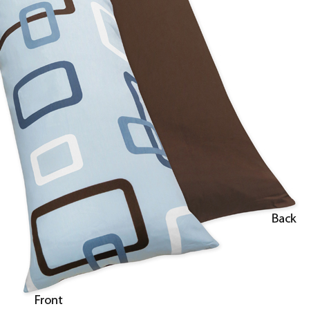 Blue and Brown Geo Full Length Double Zippered Body Pillow Case Cover by Sweet Jojo Designs - Click to enlarge