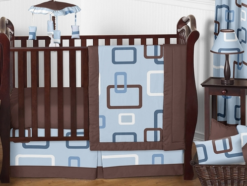 Blue and Brown Geo Modern Baby Bedding - 11pc Crib Set - Click to enlarge